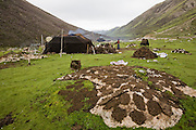 Yak dung, an important source of fuel for nomadic herders in the Tibetan Plateau, is spread out to dry in the sun outside Karsal's tent home.  (Karsal is featured in the book What I Eat: Around the World in 80 Diets.)