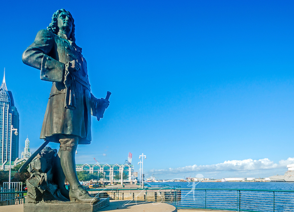 A statue of Pierre Le Moyne d'Iberville faces the Port of Mobile from his perch in Cooper Riverside Park,  November 27, 2015, in Mobile, Alabama. D'Iberville founded the city in 1702. (Photo by Carmen K. Sisson/Cloudybright)