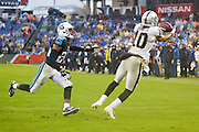 NASHVILLE, TN - NOVEMBER 29:  Seth Roberts #10 of the Oakland Raiders catches the winning touchdown pass in front of Coty Sensabaugh #24 of the Tennessee Titans at Nissan Stadium on November 29, 2015 in Nashville, Tennessee.  (Photo by Wesley Hitt/Getty Images) *** Local Caption *** Seth Roberts; Coty Sensabaugh
