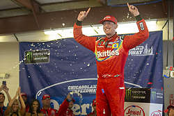 July 1, 2018 - Joliet, Illinois, United States of America - Kyle Busch (18) wins the Overton's 400 at Chicagoland Speedway in Joliet, Illinois  (Credit Image: © Stephen A. Arce/ASP via ZUMA Wire)