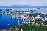 Alaska. Sitka. Aerial of Sitka Sound, downtown and Mt Edgecumbe.