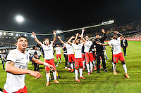 Joie PSG Champion - Thiago SILVA / David LUIZ / Lucas MOURA / Adrien RABIOT / Blaise MATUIDI - 16.05.2015 - Montpellier / Paris Saint Germain - 37eme journee de Ligue 1<br />Photo : Alexandre Dimou / Icon Sport