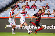SYDNEY, NSW - JANUARY 18: Adelaide United midfielder Ben Halloran (26) and Western Sydney Wanderers player Mathieu Cordier (14) fight for the ball at the Hyundai A-League Round 14 soccer match between Western Sydney Wanderers and Adelaide United at ANZ Stadium in NSW, Australia 18 January 2019. Image by (Speed Media/Icon Sportswire)