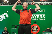 Mickey Mansell beats Gary Anderson in the first round and celebrates during the PDC Darts Players Championship at  at Butlins Minehead, Minehead, United Kingdom on 24 November 2017. Photo by Shane Healey.