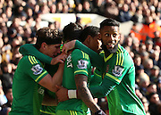 Sunderland's Defender Patrick van Aanholt  celebrating with team mates after scoring during the Barclays Premier League match between Tottenham Hotspur and Sunderland at White Hart Lane, London, England on 16 January 2016. Photo by Matthew Redman.