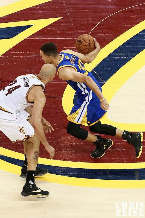 10 June 2016: Golden State Warriors guard Stephen Curry (30) drives past Cleveland Cavaliers forward Richard Jefferson (24) during the Golden State Warriors 108-97 victory over the Cleveland Cavaliers, during Game Four of the 2016 NBA Finals at the Quicken Loans Arena, Cleveland, Ohio, USA.