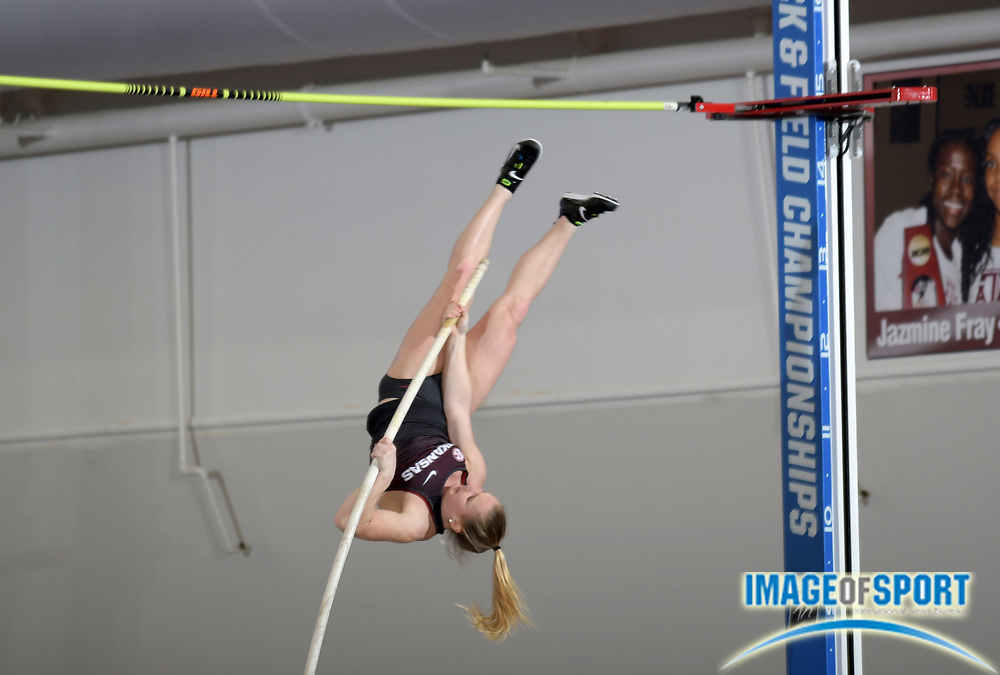 Mar 10, 2018; College Station, TX, USA; Alexis Jacobus of Arkansas wins the women's pole vault in a meet record 15-3 (4.66m) during the NCAA Indoor Track and Field Championships at the McFerrin Athletic Center.
