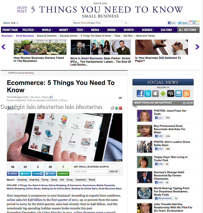 Screenshot from Huffington Post; iPad screen showing shopping website