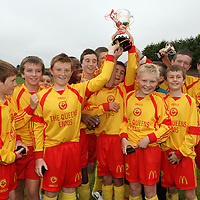 Avenue United U13's raise aloft the spoils of victory against Moher Celtic in the U13 Cup Final.<br /> Photograph by Flann Howard