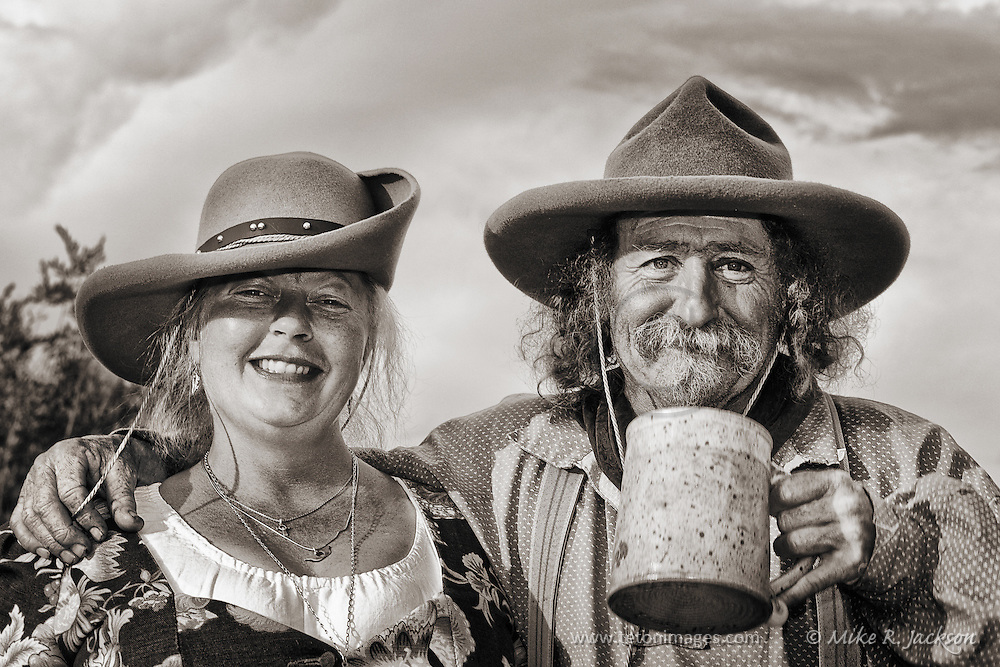 Lil Griz and Ballbreaker at one of Wyoming's annual Mountain Man Rendezvous in late summer.