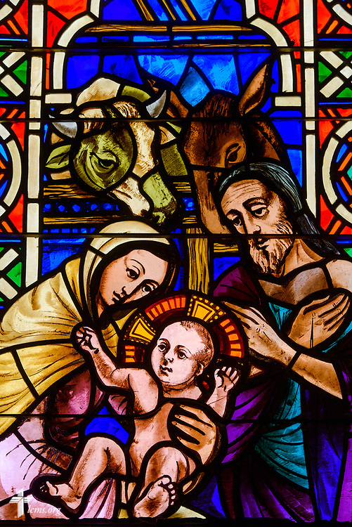 Stained glass depicting the birth of Jesus Christ at East Bethlehem Lutheran Church, Detroit, Mich., on Wednesday, June 21, 2017, in Detroit. LCMS Communications/Erik M. Lunsford