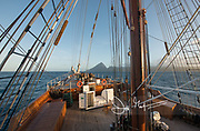 The Sea Cloud tall sailing ship approaches Saint Lucia.