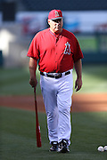 ANAHEIM, CA - APRIL 15:  Manager Mike Scioscia #14 of the Los Angeles Angels of Anaheim looks on during batting practice before the game against the Oakland Athletics at Angel Stadium on Tuesday, April 15, 2014 in Anaheim, California. The Athletics won the game 10-9 in eleven innings. (Photo by Paul Spinelli/MLB Photos via Getty Images) *** Local Caption *** Mike Scioscia