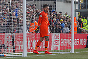 Manchester City goalkeeper Ederson (31) prepares for Crystal Palace midfielder Luka Milivojevic (4) free kick (not in picture)  during the Premier League match between Crystal Palace and Manchester City at Selhurst Park, London, England on 14 April 2019.
