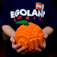 WINTER HAVEN, FL -- January 21, 2010 -- Presley Philpot, 7, of Lakeland, hold a LEGO brick orange during a press conference announcing the new LEGOLAND Florida held by Merlin Entertainments Group, who just purchased Cypress Gardens, in Winter Park, Fla., on Wednesday, January 21, 2010.  Merlin Entertainments Group CEO Nick Varney says this will be the largest LEGOLAND park yet and will open in 2011.  (Photo/Merlin Entertainments Group, Chip Litherland)
