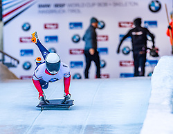 17.01.2020, Olympia Eiskanal, Innsbruck, AUT, BMW IBSF Weltcup Bob und Skeleton, Igls, Skeleton, Herren, 1. Lauf, im Bild Alex Ivanov (USA) // Alex Ivanov of the USA in action during his 1st run of men's Skeleton competition of BMW IBSF World Cup at the Olympia Eiskanal in Innsbruck, Austria on 2020/01/17. EXPA Pictures © 2020, PhotoCredit: EXPA/ Stefan Adelsberger