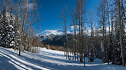 Panoramic view of snow coated Nokhu Crags in the Colorado State Forest State Park.