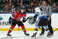 KELOWNA, BC - NOVEMBER 6: Nolan Foote #29 of the Kelowna Rockets lines up for the face-off against Ty Yoder #20 of the Victoria Royals  at Prospera Place on November 6, 2019 in Kelowna, Canada. (Photo by Marissa Baecker/Shoot the Breeze)