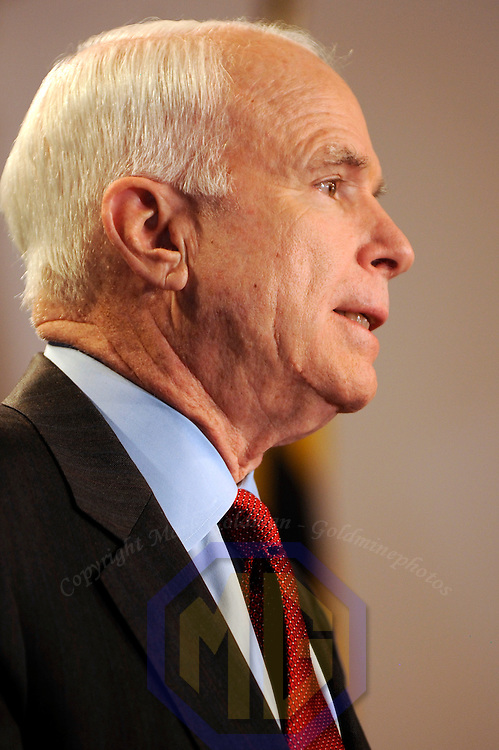 07 February 2008:   US Senator and Republican presidential candidate John McCain speaks to the Baltimore County Republican Lincoln Day Dinner in Halethorpe, Maryland on February 07, 2008. McCain's chief rival Mitt Romney pulled out of the presidential race earlier today, making him the presumed Republican nominee.