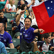 Fuatino Ryan Su'a, currently living in Tokyo, proudly cheered on her Manu Samoa at the 2013 Hong Kong Sevens. Photo by Barry Markowitz, 3/22/13, Courtesy Tri Marine/Samoa Tuna Processors