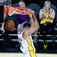08 October 2017: Los Angeles Lakers forward Larry Nance Jr. (7) dunks the ball during the LA Lakers 75-69 victory over the Sacramento Kings, at the T-Mobile Arena, Las Vegas, Nevada, USA.