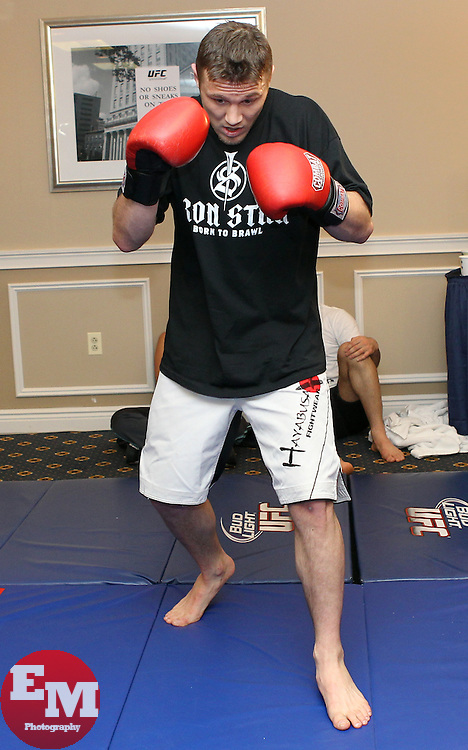 March 17, 2011; Newark, NJ; Dan Miller works out for the media in preparation for his upcoming fight against Nate Marquardt at UFC 128 in Newark, NJ.