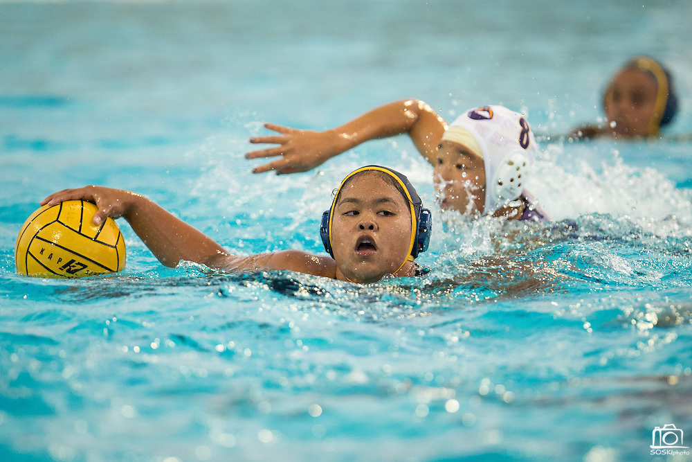 CJ Andrea Molo (14) protects the ball against Monta Vista during a girl's varsity water polo match at Milpitas High School in Milpitas, California, on September 6, 2016. (Stan Olszewski/SOSKIphoto)