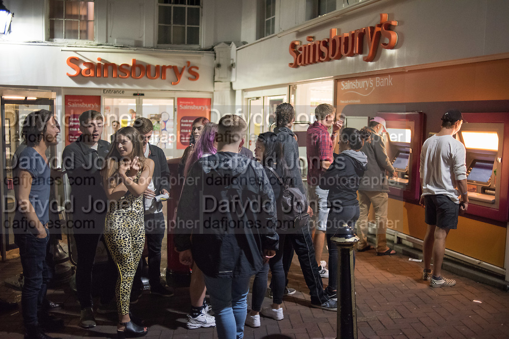 Queue for cash machine, 10.45 p.m. Cowes, Isle of Wight, 9 August 2018