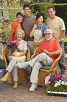 Portrait of family in garden