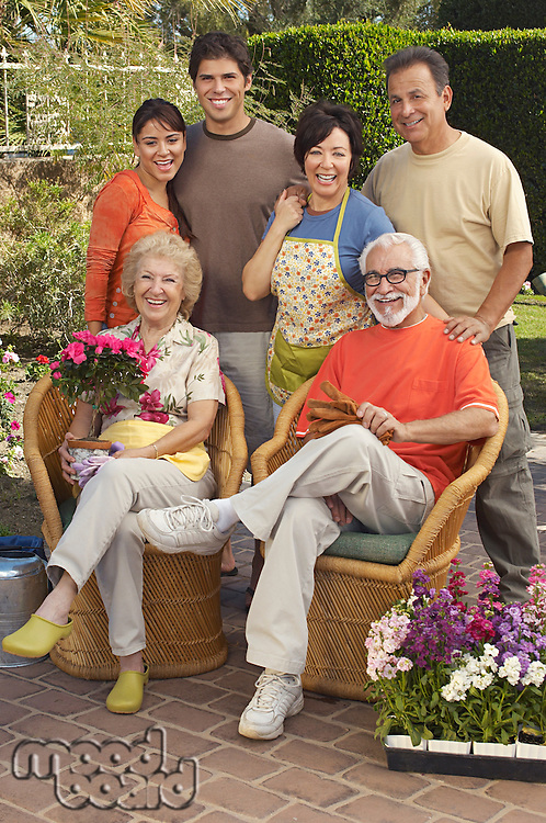 Portrait of family in garden