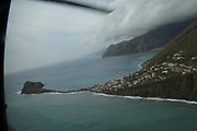 View of damage caused by Hurricane Maria in Dominica, as seen through the window of an RAF Chinook helicoter, 20 Sept 2017.