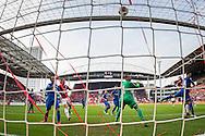 UTRECHT, FC Utrecht - NEC, voetbal, Eredivisie, seizoen 2016-2017, 30-10--2016, Stadion De Galgenwaard, FC Utrecht speler Sebastien Haller (2R) kopt op de lat, NEC keeper Joris Delle (3R).