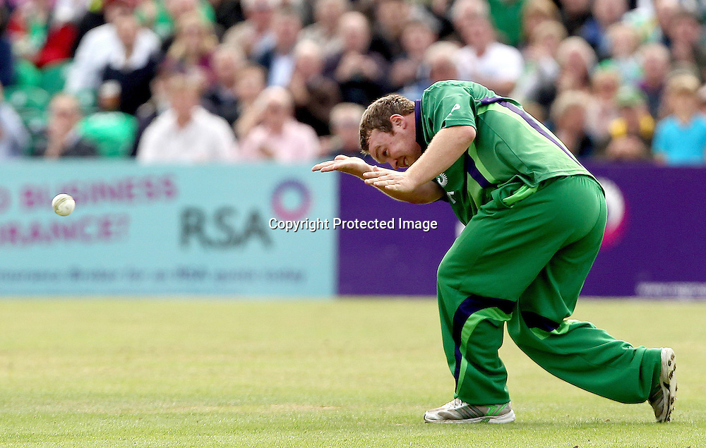 RSA Challenge ODI, Clontarf Cricket Club, Dublin, 25/8/2011<br />Ireland vs England<br />Ireland's Paul Stirling celebrates after he caught and bowled Ben Stokes of England<br />Mandatory Credit &copy;INPHO/James Crombie  *** Local Caption ***