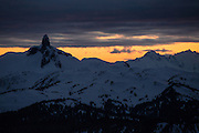 Scenic Landscape image of Black Tusk Mountain at sunset seen from 7th Heaven on Blackcomb Ski Resort in Whistler, BC, Canada