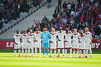 Groupe Bordeaux - une minute de silence pour Chloe - 19.04.2015 - Lille / Bordeaux - 33eme journee de Ligue 1<br />Photo : Dave Winter / Icon Sport