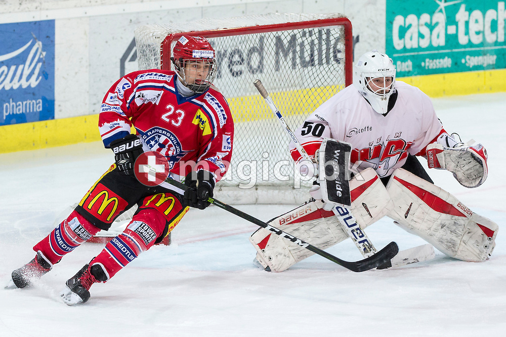 Rapperswil-Jona Lakers forward Frantisek Rehak (L) against EHC Visp goaltender Hoel Ballestraz during the third Elite B 1/2 final Playoff ice hockey game between Rapperswil-Jona Lakers and EHC Visp held at the SGKB Arena in Rapperswil, Switzerland, Friday, Mar. 3, 2017. (Photo by Patrick B. Kraemer / MAGICPBK)
