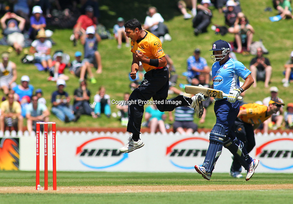 Jeetan Patel reacts to taking a wicket during their Twenty20 Cricket match - HRV Cup, Wellington Firebirds v Auckland Aces, 28 December 2011, Hawkins Basin Reserve, Wellington. . PHOTO: Grant Down / photosport.co.nz