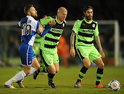 Bristol Rovers' Matt Taylor closes down Forest Green Rovers's David Pipe - Photo mandatory by-line: Dougie Allward/JMP - Mobile: 07966 386802 - 29/04/2015 - SPORT - Football - Nailsworth - The New Lawn - Forest Green Rovers v Bristol Rovers - Vanarama Football Conference
