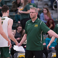 Head Coach Greg Barthel of the Regina Cougars in action during men's Volleyball home game on January 21 at Centre for Kinesiology, Health and Sport. Credit: Arthur Ward/Arthur Images