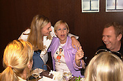 Kim Herzog and Tania Bryer. Celine fashion show and lunch. New Bond St. London. 8 May 2001. © Copyright Photograph by Dafydd Jones 66 Stockwell Park Rd. London SW9 0DA Tel 020 7733 0108 www.dafjones.com