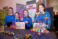 April Curran, Lily Connell, Adam Dowd and Teegan McDonagh from Ballinasloe National School who took part in the  Medtronic Knex Challenge at the Radisson blu Hotel.  Medtronic KNEX Challenge is for  primary school children completing  exceptional tasks which will be judged on the level of engineering, innovation and communication displayed by the teams.. .The final event of the week is the Medtronic  Junior FIRST LEGO League challenge on THURSDAY. This is the second year The Galway Education Centre has hosted this competition - one of only six countries in the world who do so. Following the success of last year, over 500 school children from all over the country are expected to come along and practice their robotics, presentation and teamwork skills live on the night!. .Bernard Kirk, Director of The Galway Education Centre says; ?Working on this three day event every year is fun and exciting and always surprising. The talent, instinct and drive we discover in these young children is an inspiration to all of us. We look forward to the continued success of all of our challenges which would not be possible without the support of companies like Medtronic, SAP, HP and LEGO?.. .All of these events are open to the public and free admission. They will also be streamed live on line at www.galwayeducationcentre.ie. Photo:Andrew Downes.
