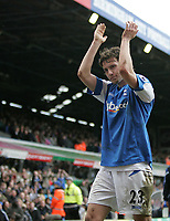 Photo: Lee Earle.<br /> Birmingham City v Chelsea. The Barclays Premiership. 01/04/2006. City's Mat Sadler celebrates the draw at the end of the game.