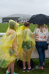 © Licensed to London News Pictures. 24/07/2018. Llanelwedd, Powys, UK. Rain hits Powys on the second day of the Royal Welsh Agricultural Show. The Royal Welsh Agricultural Show is hailed as the largest & most prestigious event of its kind in Europe. In excess of 200,000 visitors are expected this week over the four day show period. The first ever show was at Aberystwyth in 1904 and attracted 442 livestock entries. Photo credit: Graham M. Lawrence/LNP