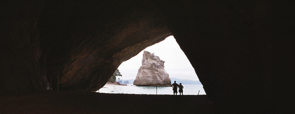 Te Hoho, a sandstone rock viewed from Cathedral Cove on the Coromandel Peninsula, North Island, New Zealand. New Zealand. Photo Tim Clayton