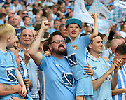 Coventry City supporters celebrate after Coventry win the League 2 Play-Off final during the EFL Sky Bet League 2 play-off final match between Coventry City and Exeter City at Wembley Stadium, London, England on 28 May 2018. Picture by Jon Hobley.