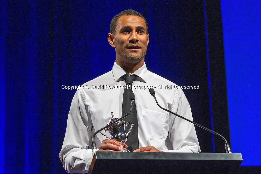 Breakers' Mika Vukona speaks at the Skycity Breakers Awards, 2013-14, Skycity Convention Centre, Auckland, New Zealand, Friday, March 28, 2014. Photo: David Rowland/Photosport