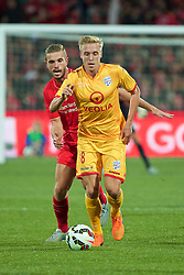 ADELAIDE, AUSTRALIA - Monday, July 20, 2015: Adelaide United's James Jeggo in action against Liverpool during a preseason friendly match at the Adelaide Oval on day eight of the club's preseason tour. (Pic by David Rawcliffe/Propaganda)