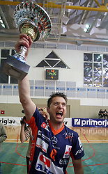 Sebastijan Skorc of ACH Volley celebrating wit a cup at 4th and final match of Slovenian Voleyball  Championship  between OK Salonit Anhovo (Kanal) and ACH Volley (from Bled), on April 23, 2008, in Kanal, Slovenia. The match was won by ACH Volley (3:1) and it became Slovenian Championship Winner. (Photo by Vid Ponikvar / Sportal Images)/ Sportida)