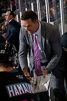 KELOWNA, BC - SEPTEMBER 21:  Kelowna Rockets' assistant coach Vern Fiddler goes over a play on the bench against the Spokane Chiefs at Prospera Place on September 21, 2019 in Kelowna, Canada. (Photo by Marissa Baecker/Shoot the Breeze)