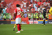 Smoke bomb on the pitch during the Sky Bet Championship match between Charlton Athletic and Burnley at The Valley, London, England on 7 May 2016. Photo by Matthew Redman.